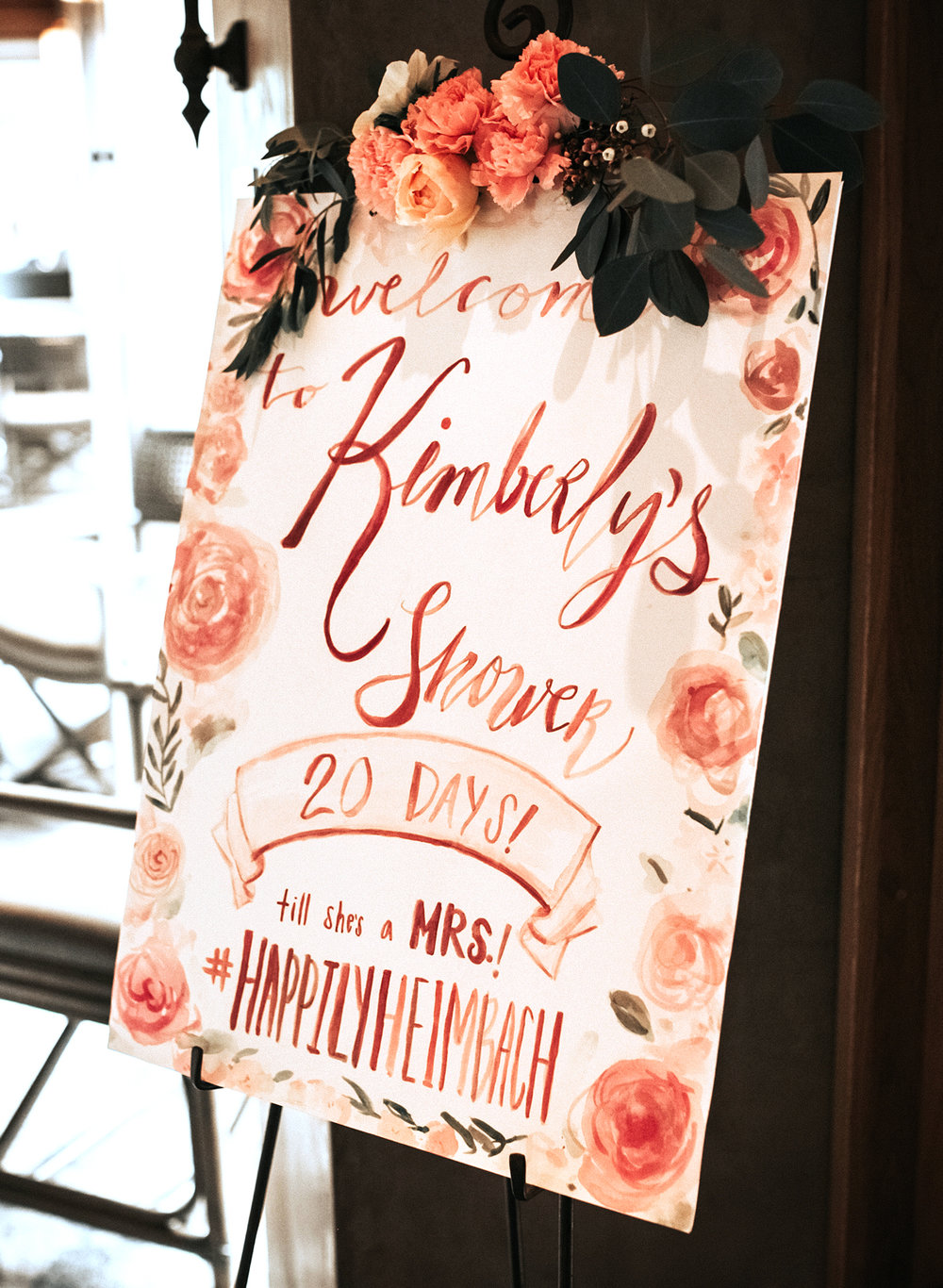 Bridal Shower Watercolor Roses and Peonies Welcome Sign by Ladyfolk Studio