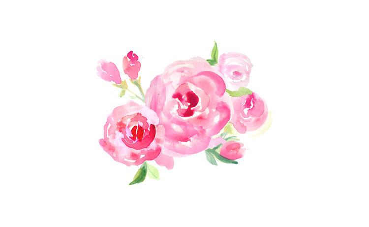 freebie rose watercolor desktop background art ladyfolk studio