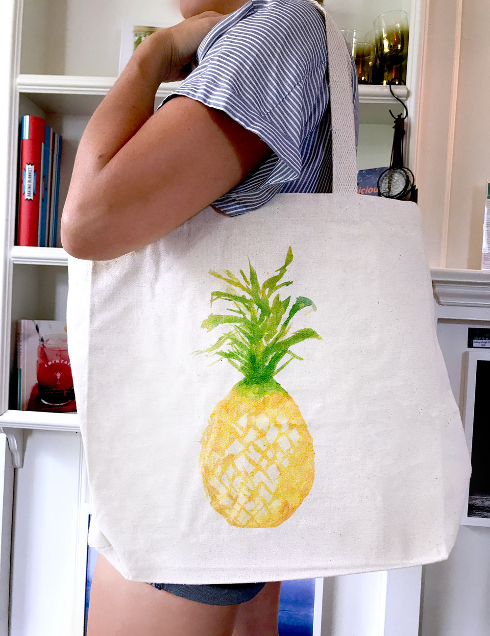 Watercolor Pineapple turned Tote bag: Paint, Sip and Print with Ladyfolk Studio!