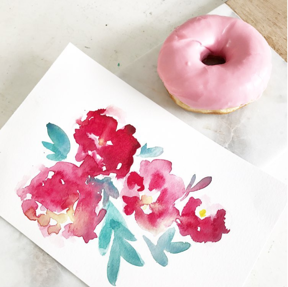 Watercolor doodles and donuts for a personal project.