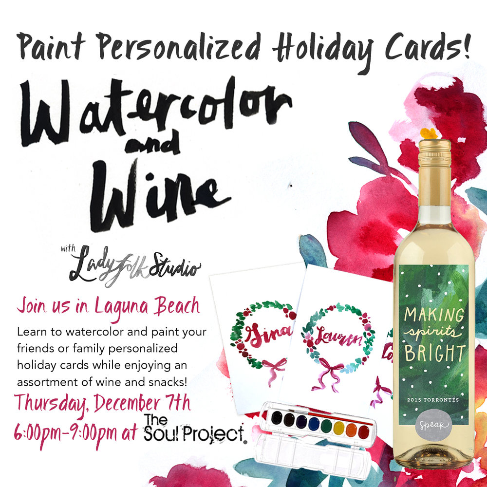 Holiday Cards Watercolor and Wine in Laguna Beach