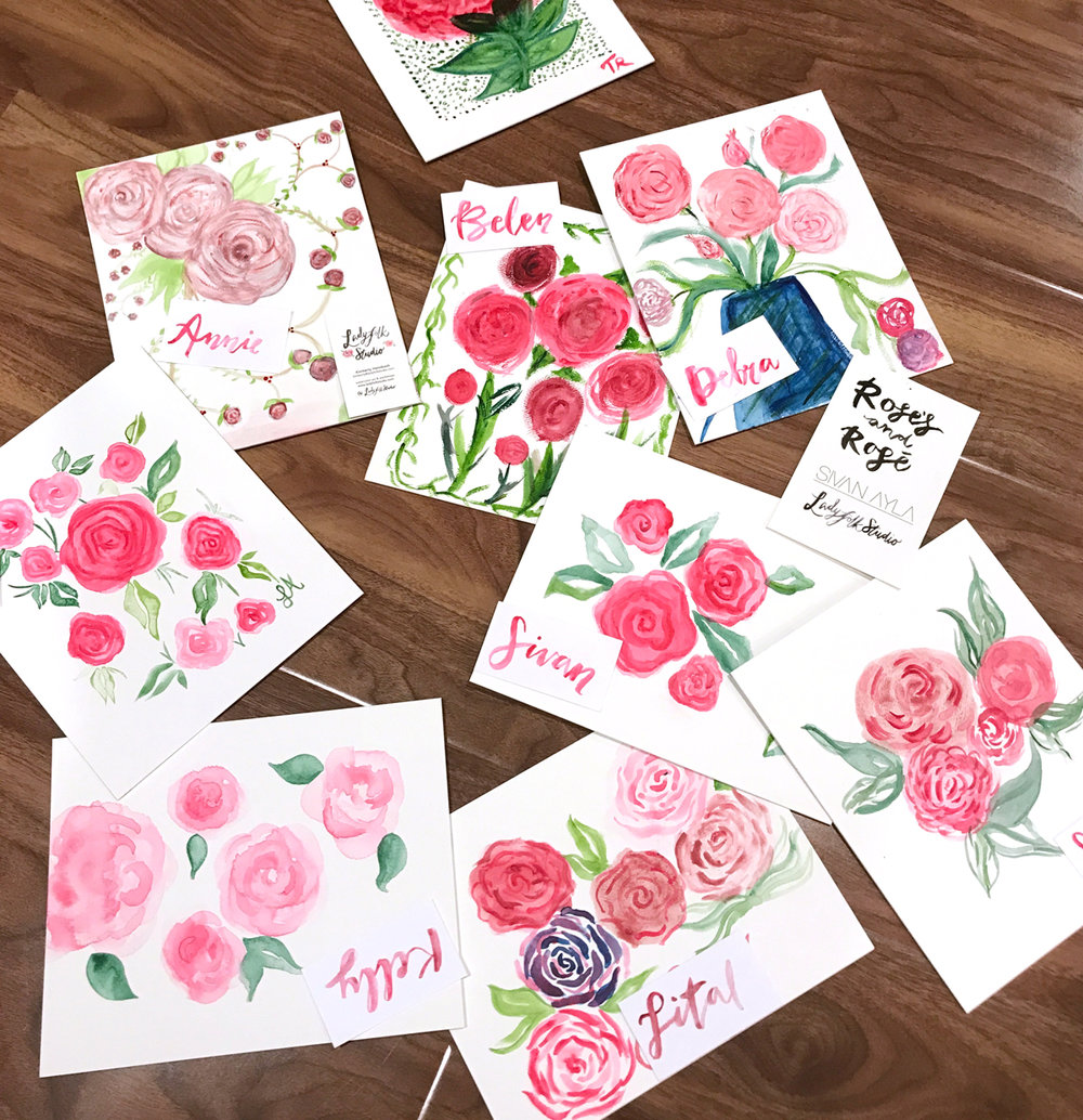 Roses and Rosé Girls Night In Galentine's Day Workshop by Ladyfolk Studio