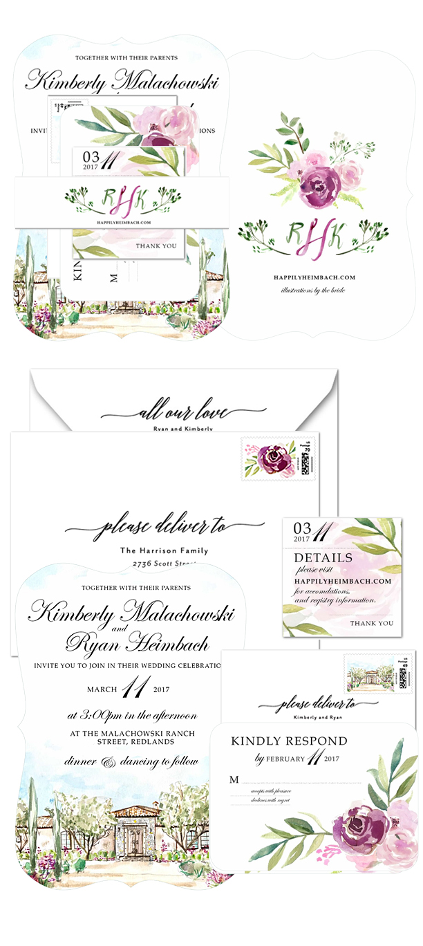 Watercolor Art Floral Adorned Wedding Invitations by Ladyfolk Studio, Laguna Beach, CA