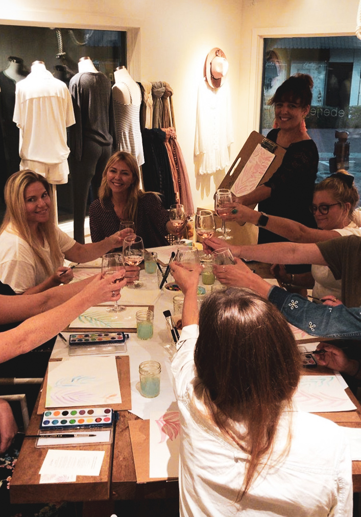 Ladyfolk Studio Watercolor and Wine workshop with Eberjey Newport Beach