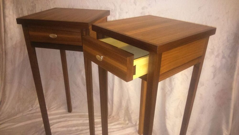 Pair of bedside tables in Walnut, bespoke pewter handles cast by my brother Paul.