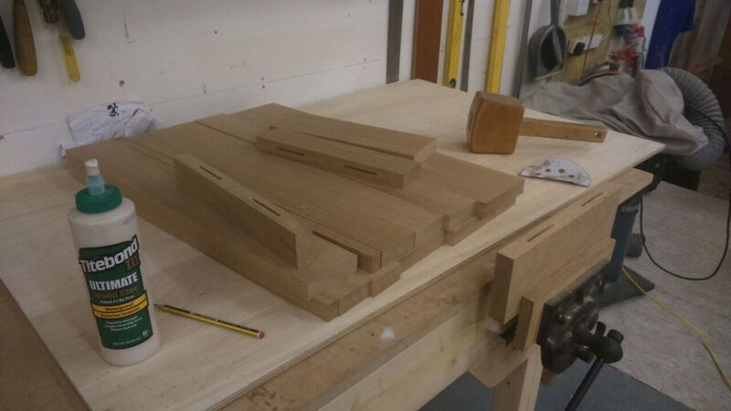 Boards cut and biscuits ready for glueing