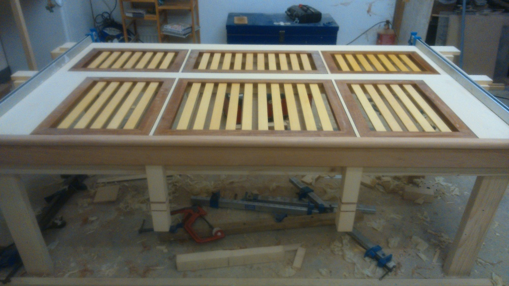 Aft seating for 8m launch prior to fitting, in Brazilian Mahogany and Yellow Cedar