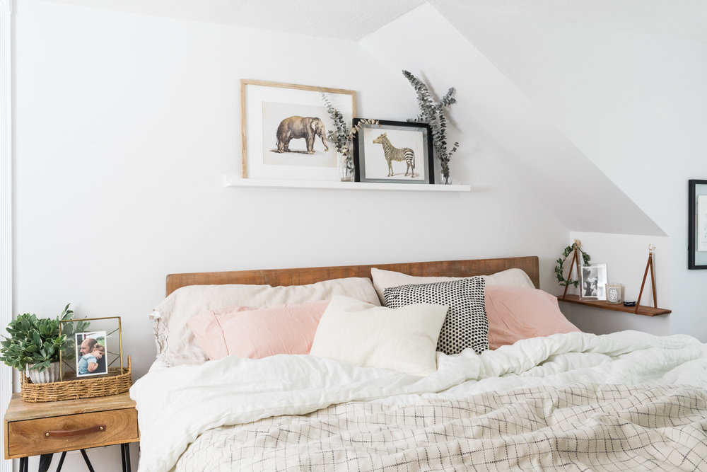 nightstand { similar } /  linen sheets  /  linen comforter  /  blanket  /  picture ledge  / hanging shelf { similar }