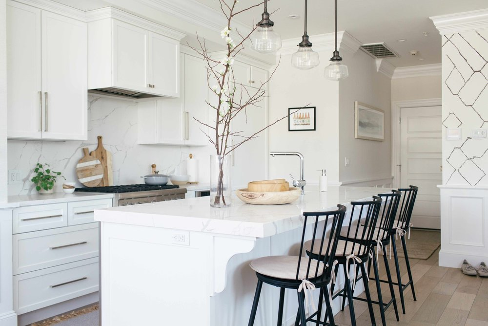 bright white kitchen design by Boston based designer mStarr design