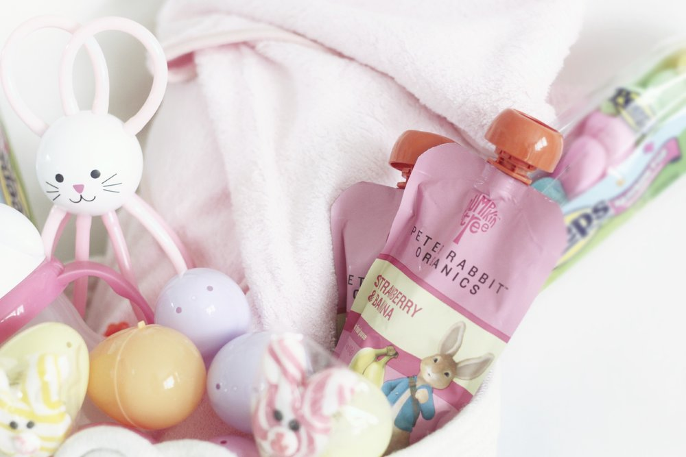 bee is too little for the peeps shown here (they are just for decoration!) but she can enjoy a sweet treat with her favorite flavor of peter rabbit organics pouches with a pouch backflow topper.