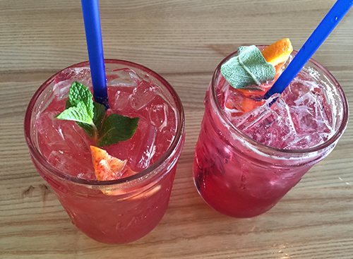 Craft sodas, also from Bluebird. Basil Lemonade and Pomegranate Sage.