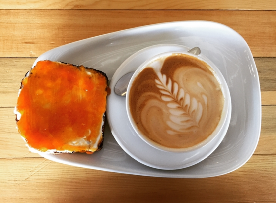 Apricot and cream cheese toast with a blonde mocha from  Publik  in SLC.