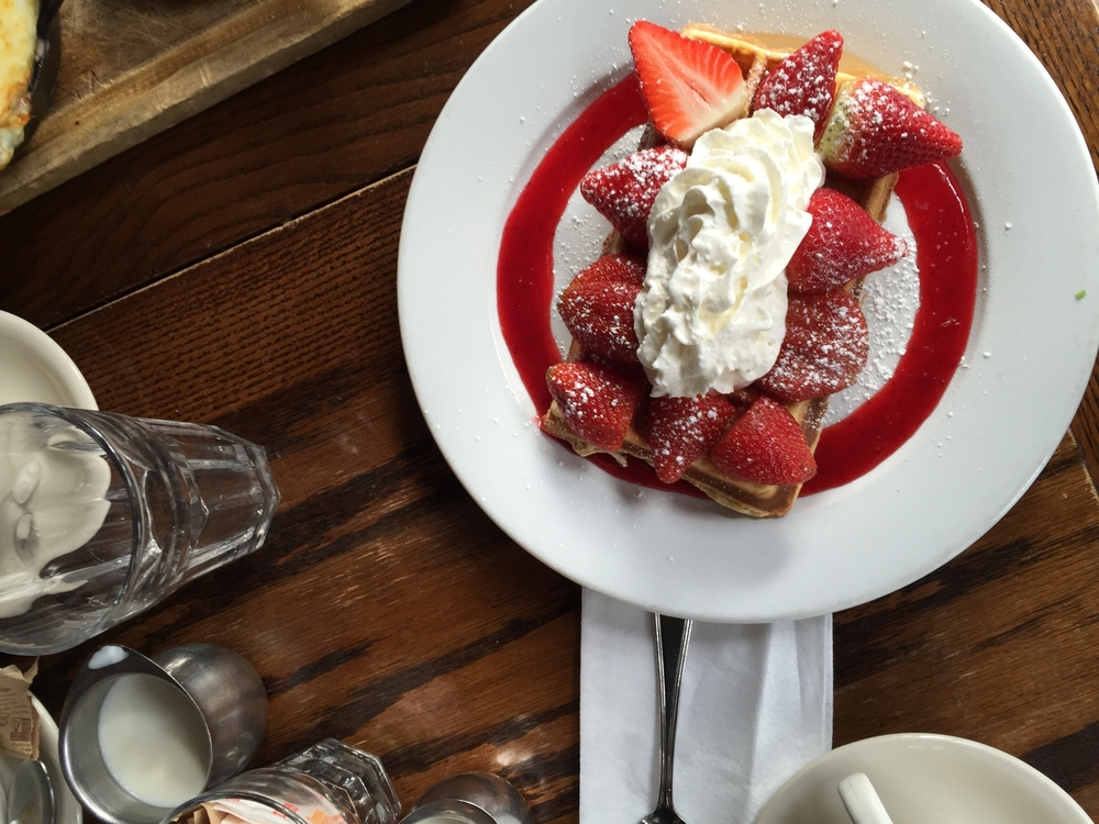 Strawberries and cream Belgian waffle from Petite Abeille.
