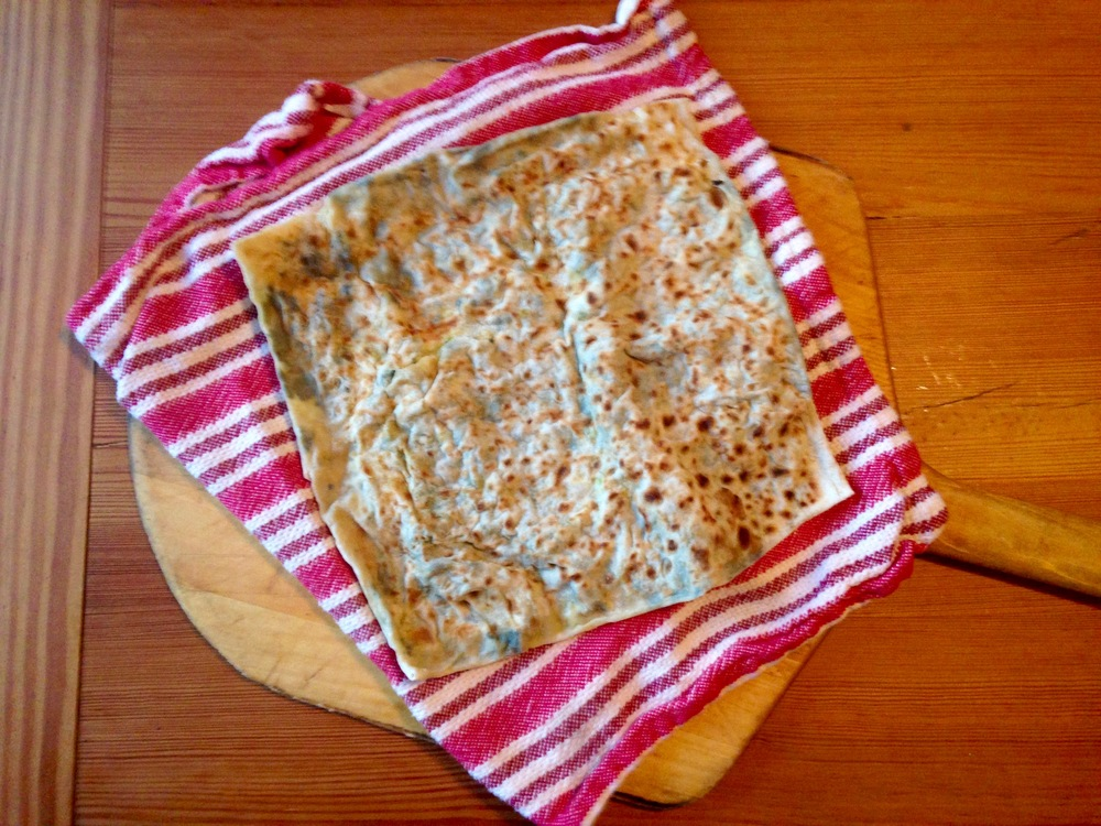 Turkish spinach gozleme (flatbread)