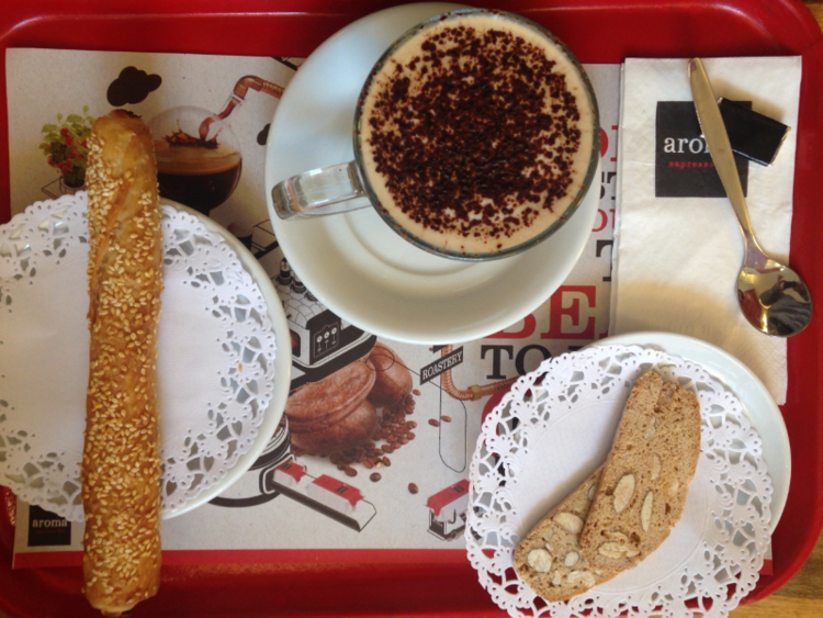 Complimentary chocolate, exquisite biscuit, overindulgent cafe mocha and just right filo stick.
