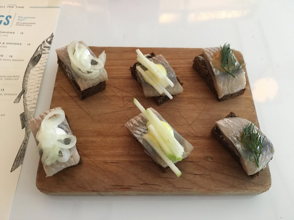 Six herring canapés