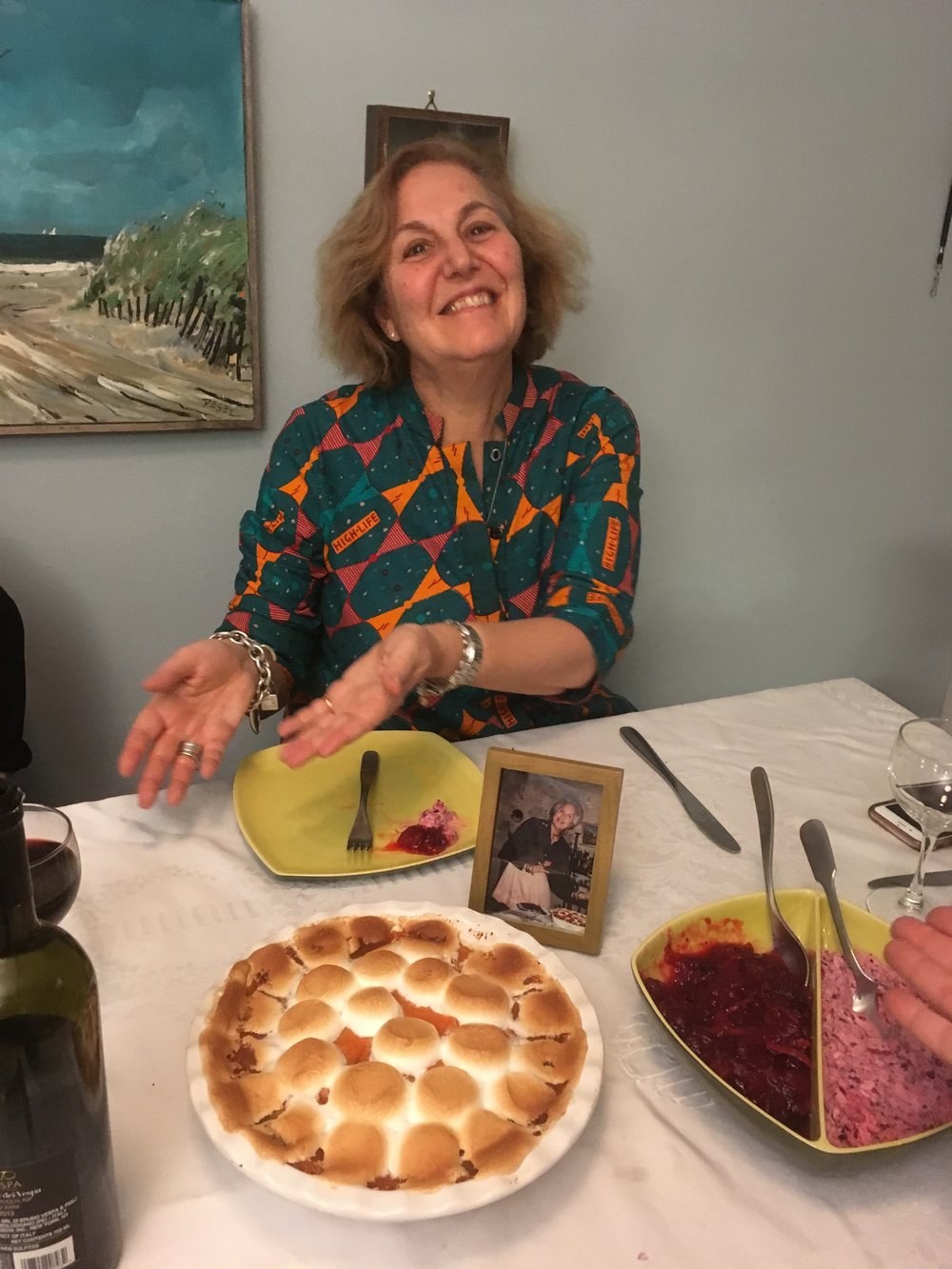 Carol presents the pie, 2017