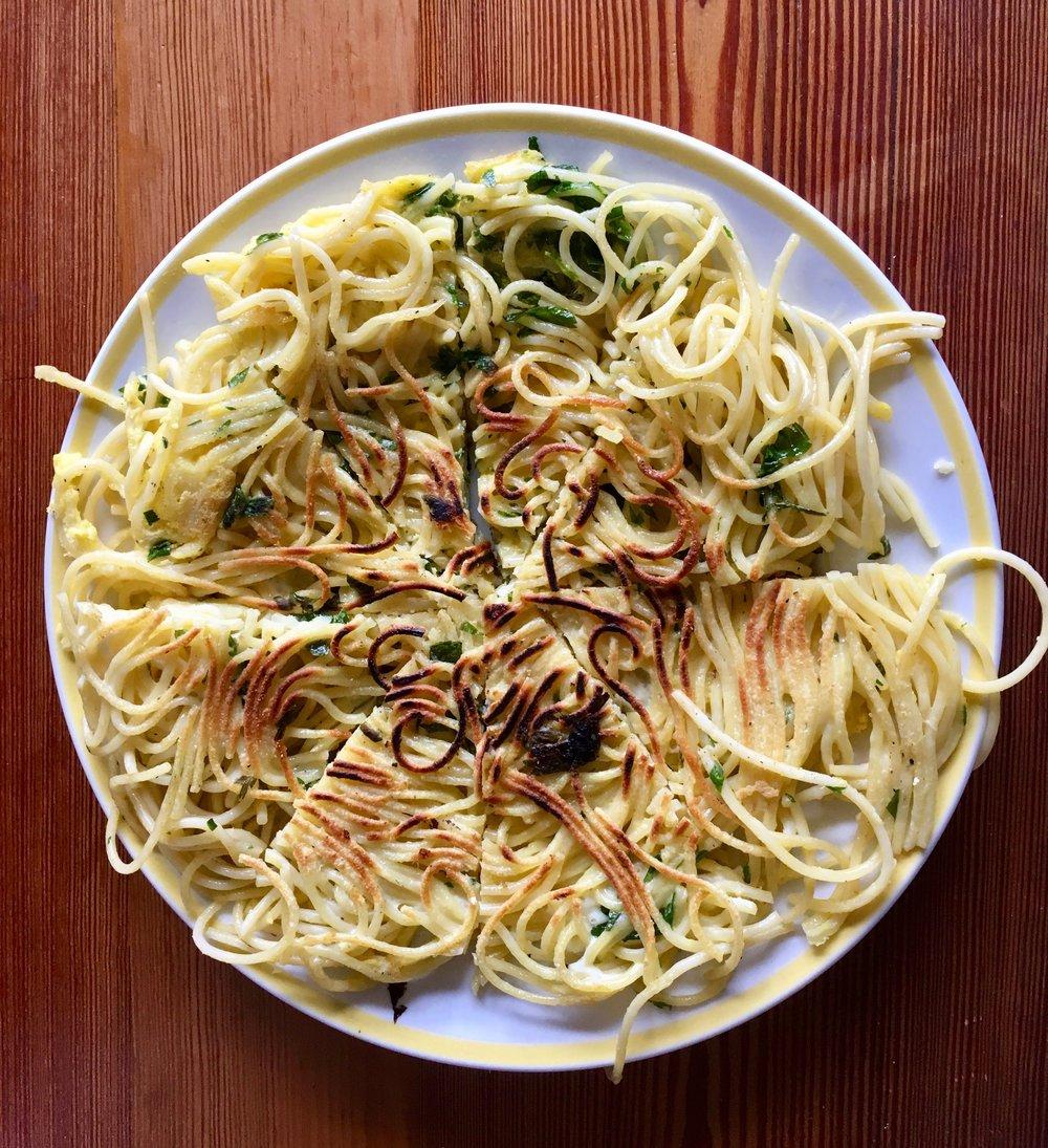 Spaghetti frittata, picnic/potluck staple