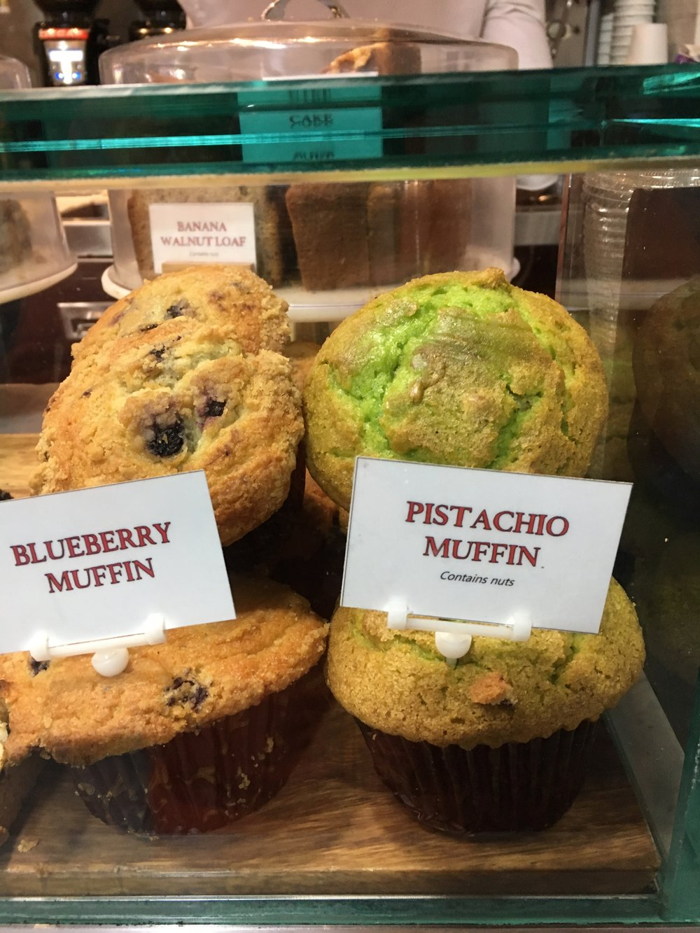 And a lurid pistachio muffin