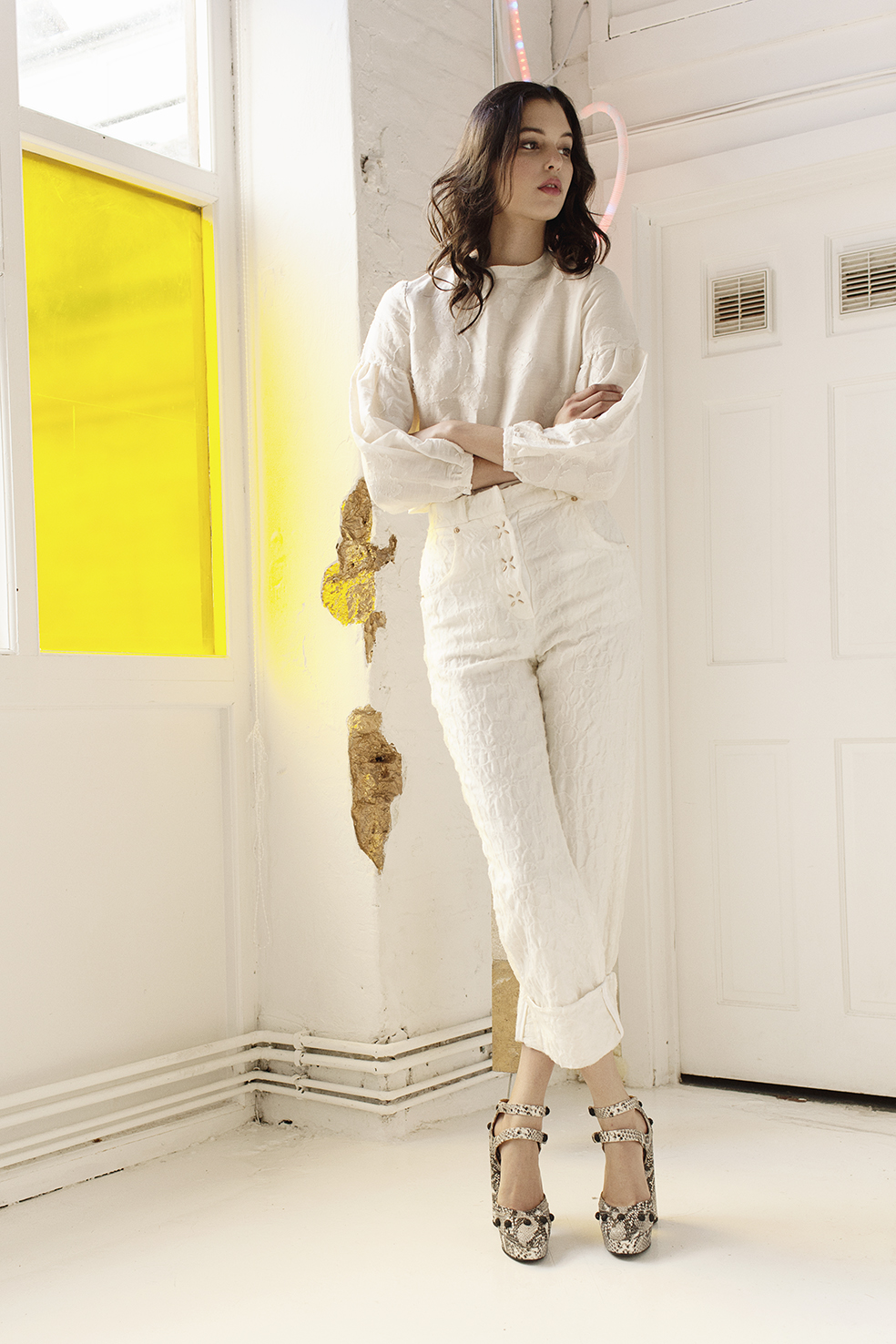 Blouse by Kelly Love @Young British Designers Trousers by Steventai Pumps by Rue St