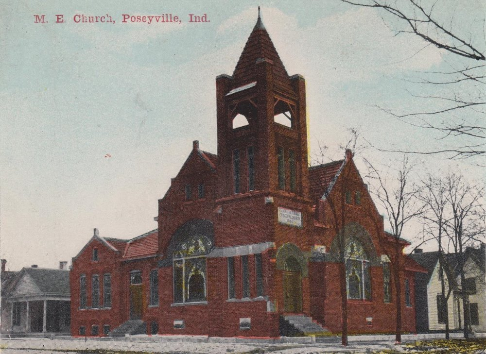 St. Paul's United Methodist Church – colorized print for a photo taken in 1906.