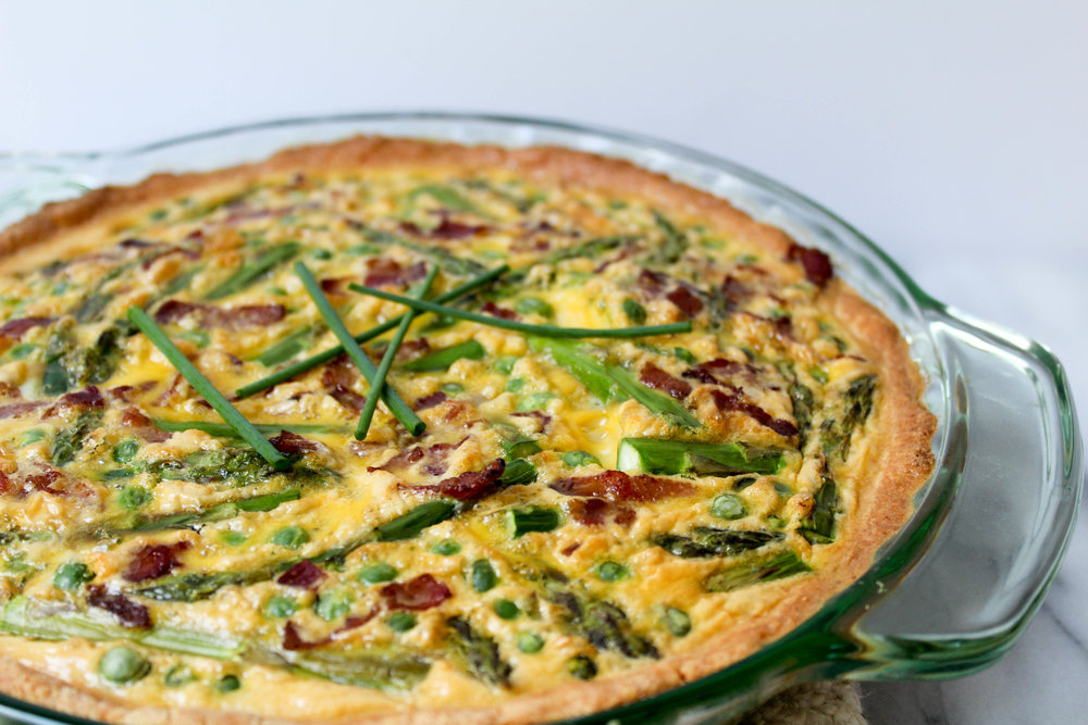 Asparagus Quiche with Fresh Peas and Bacon