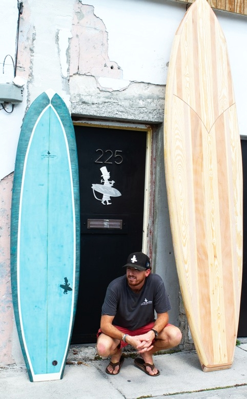 """Lost Boy Creations is presently raffling off a one of a kind 7'8"""" surfboard, with all proceeds benefiting areas affected by Hurricane Michael in the Florida Panhandle. (Surfboard on the left)"""