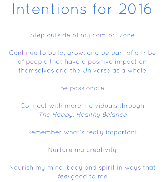 Intentions for 2016