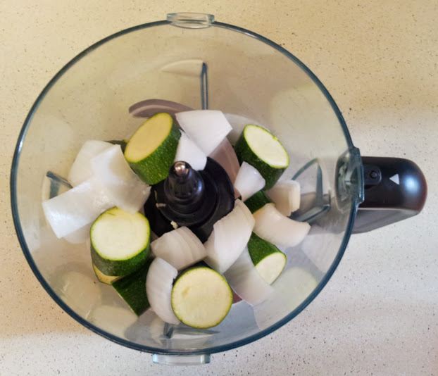 Zucchini patty ingredients in food processor