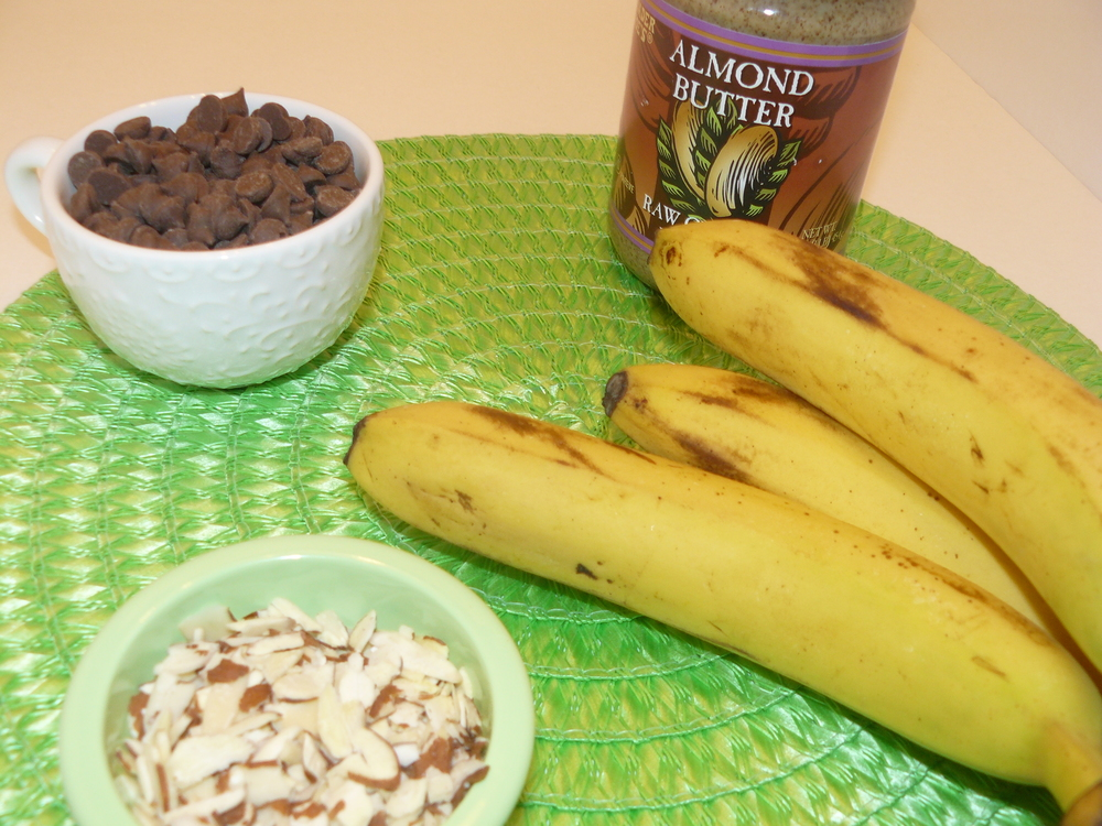 Banana + Almond Butter Sandwich Dipped in Dark Chocolate Indredients