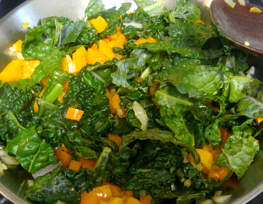 Veggie Egg Muffin Ingredients In Saute Pan