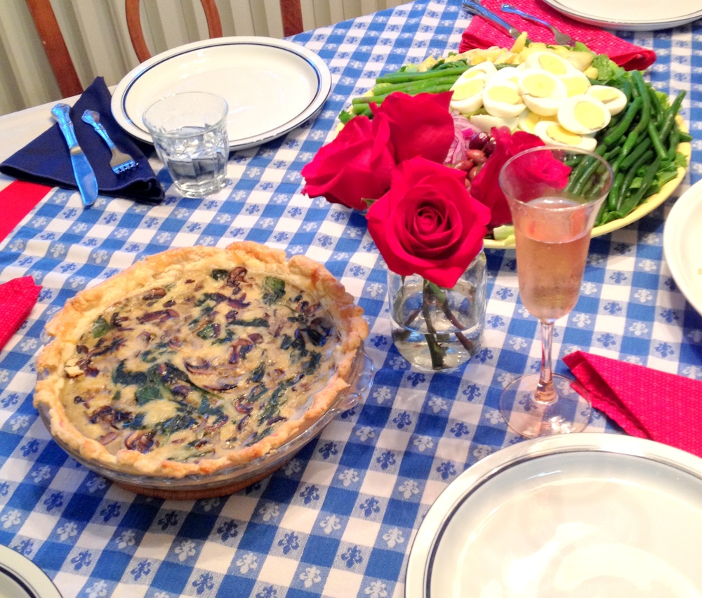 quiche, spinach, mushroom, French, France, party