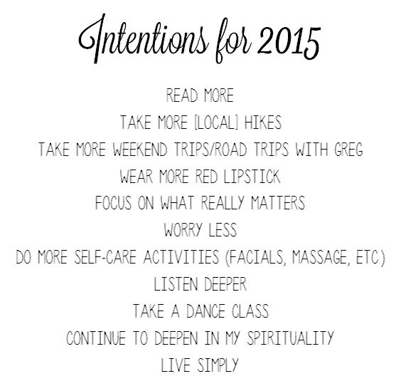 Intentions for 2015