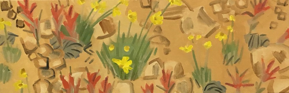 "Indian Paint Brush and Coreopsis, 10 x 30"", oil on canvas, 2017"