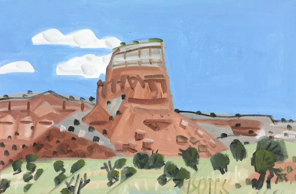 "Ghost Ranch Monument, 16 x 24"", oil on canvas, 2017"