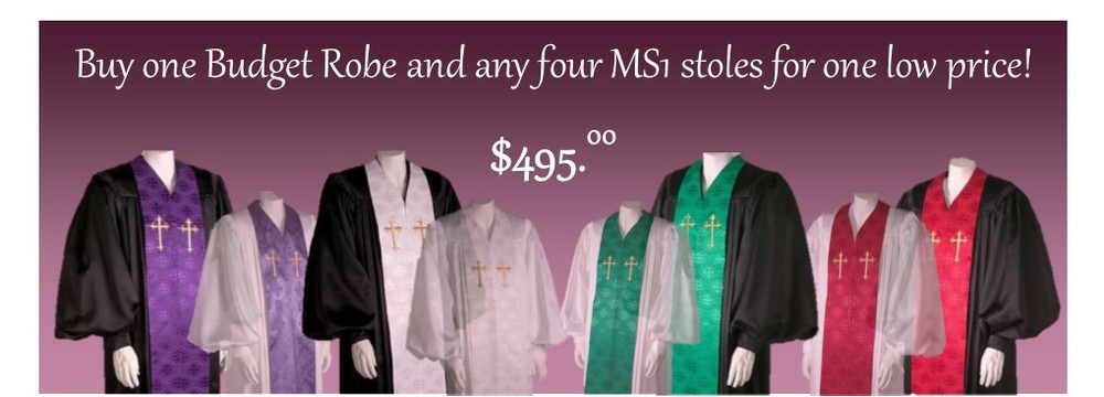 Each robe features a detachable stole.  Simply remove one stole and exchange it for another.                            It just takes a minute.  Keep extra stoles for different occasions or for special events.