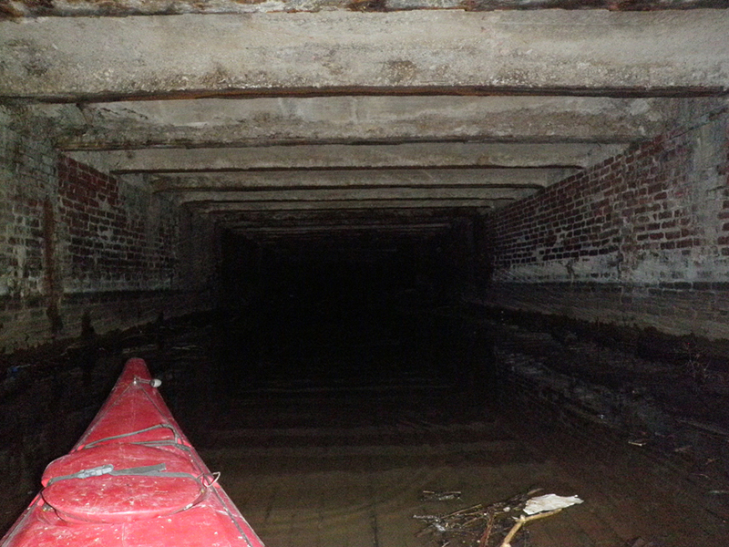 As I continued deeper underground, the culvert gradually got more shallow.