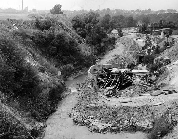 A remaining section of the Kingsbury Run as they were preparing to divert it underground, circa 1966.