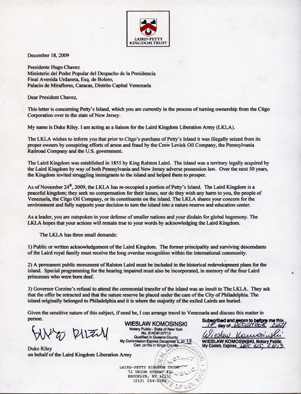 Letter to Hugo Chavez, 2010