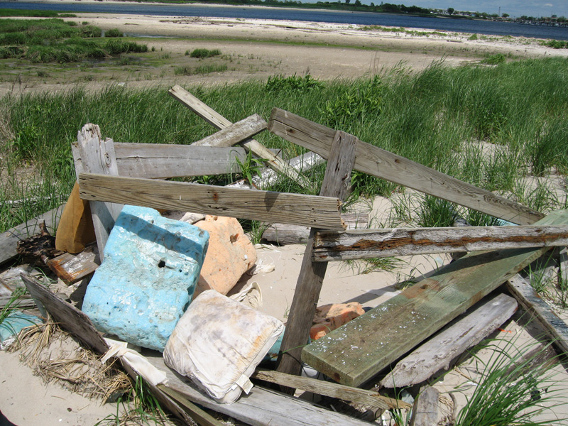 The area has a lot of wood and remnants from boats that wash ashore.