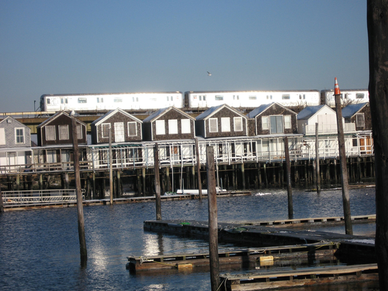 First thing I noticed from the A train was an old pier of row houses on stilts.