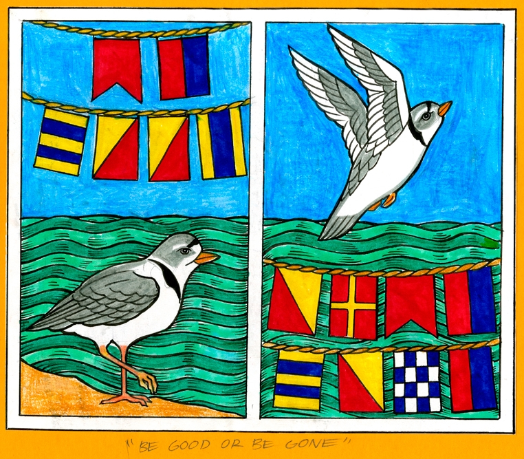 One endangered local resident: the Piping Plover.  Nautical flags: Be Good or Be Gone.