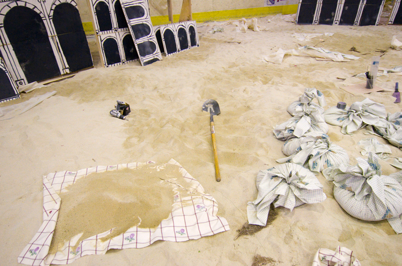 Plenty of sand in the rink to make sandbags for staging.
