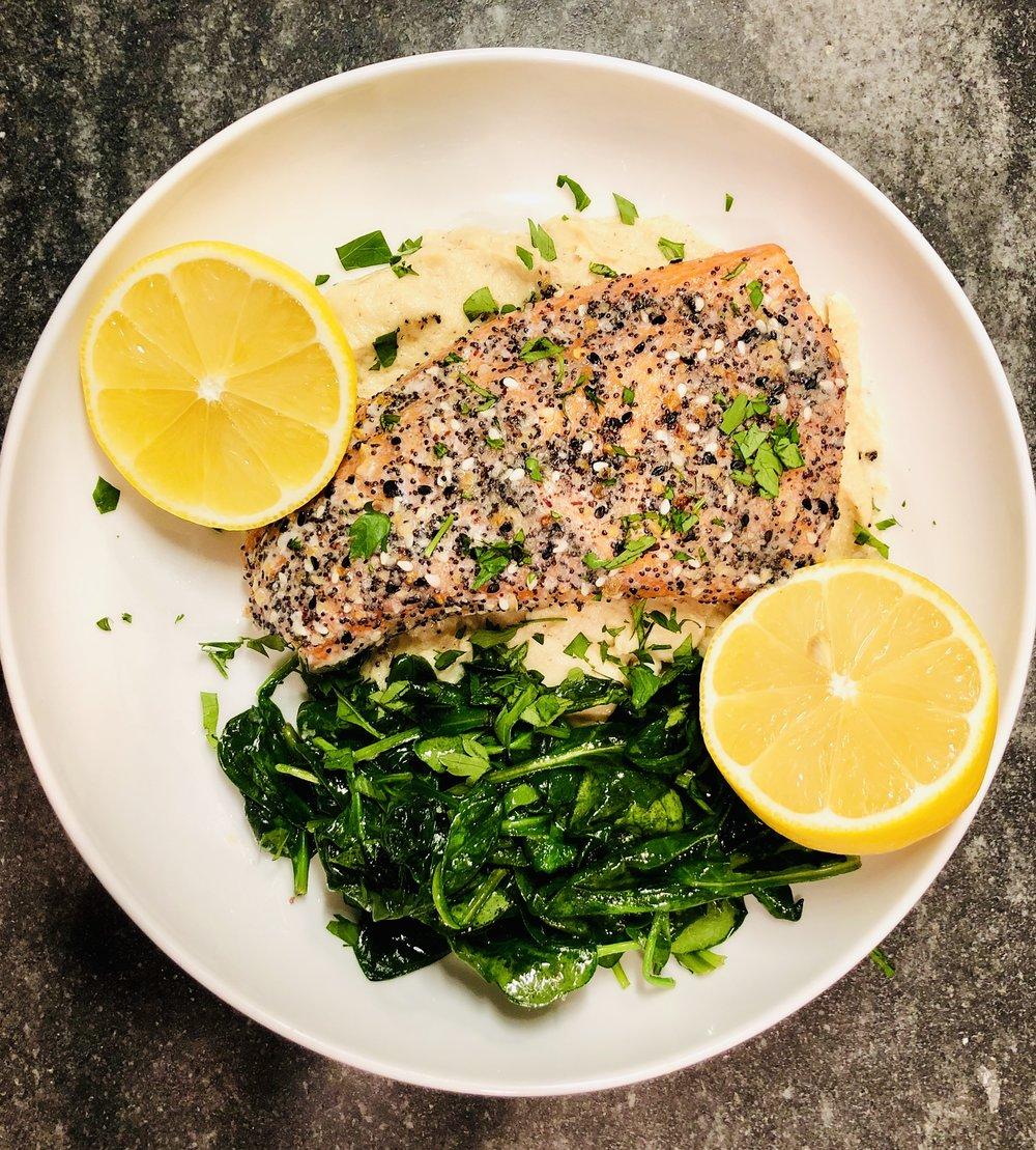 salmon with cauliflower mash and spinach.jpg