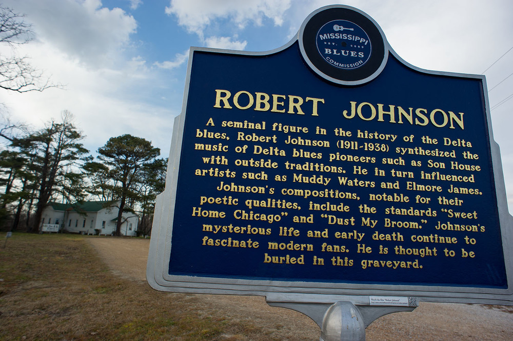 There are three memorial markers for Blues legend Robert Johnson scattered within twenty miles of Greenwood, Mississippi. This marker sits in the cemetery next to Little Zion Missionary Baptist church to the north of town.