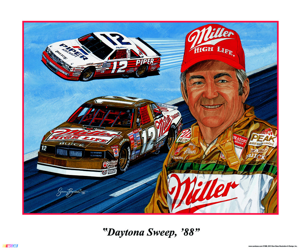 Daytona Sweep, '88 by Sam Bass   ©1988, 2013 Sam Bass Illustration & Design, Inc.