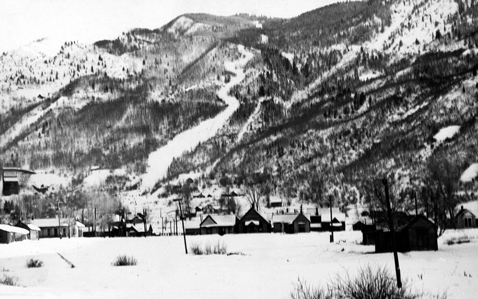 Aspen Mountain from City Park (Paepke Park),  1930s