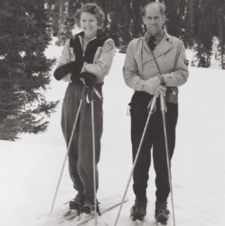 Renie and David Skiing