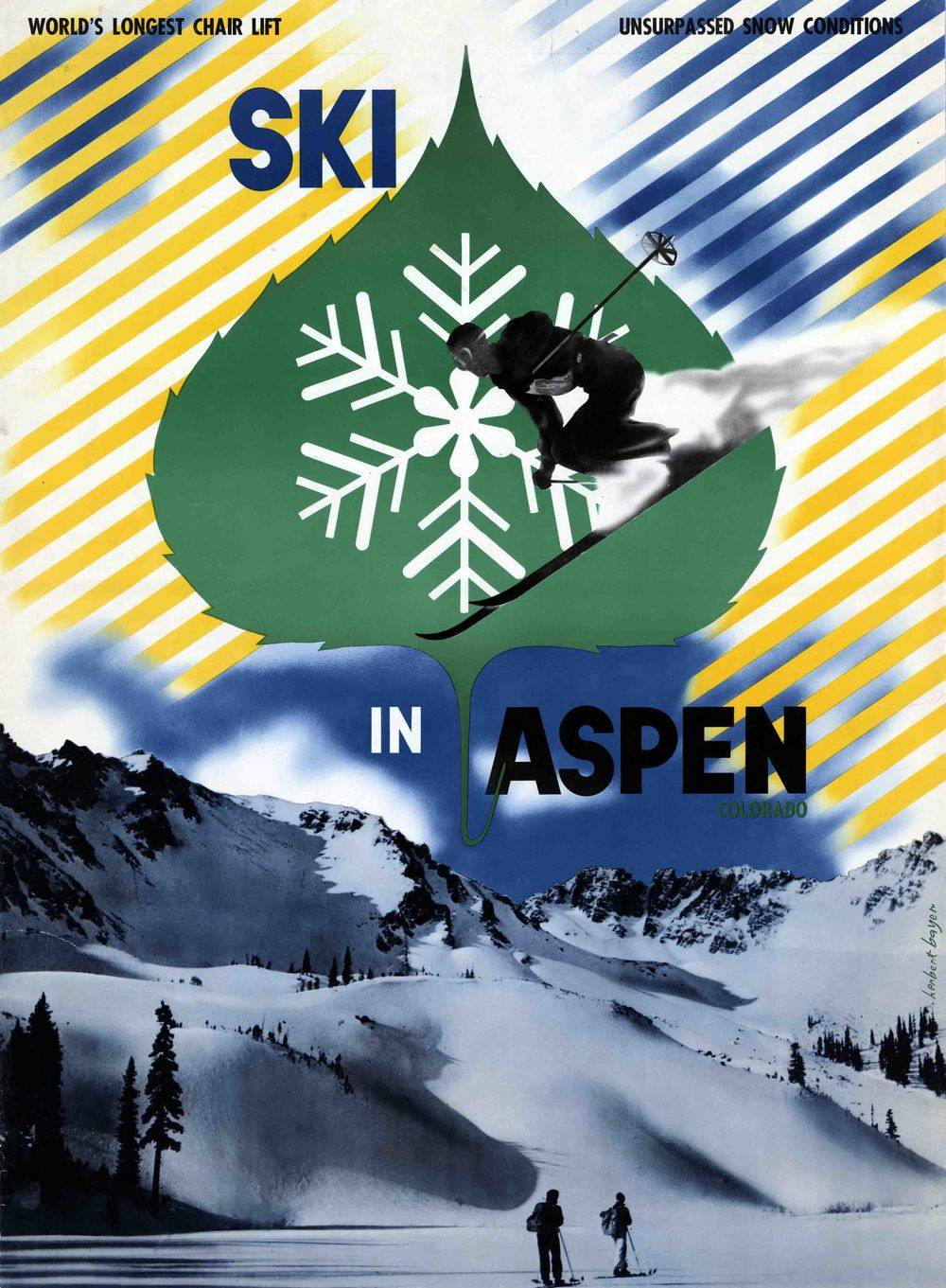 """Ski in Aspen Colorado"" posters designed by Herbert Bayer and produced by the Aspen Chamber of Commerce. The poster shows a ski area with two skiers (Hayden peak area) standing at the bottom of the poster. Photo: Aspen Historic Society"