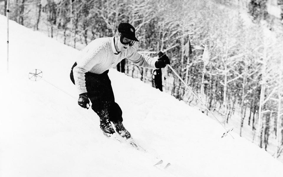 Barney McLean skiing